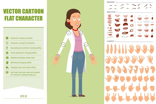 Cartoon flat funny doctor woman character in white uniform. ready for animations. face expressions, eyes, brows, mouth and hands easy to edit. isolated on green background. vector set.