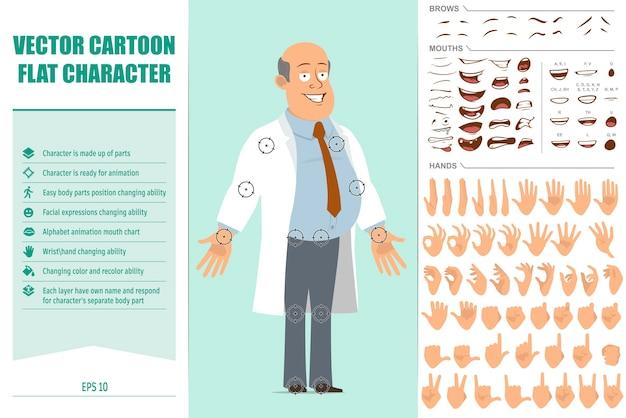 흰색 넥타이와 유니폼에 만화 평면 재미 지방 대머리 의사 남자 캐릭터. 애니메이션 준비. 얼굴 표정, 눈, 눈썹, 입, 손을 쉽게 편집 할 수 있습니다. 녹색 배경에 고립. 벡터 집합입니다.