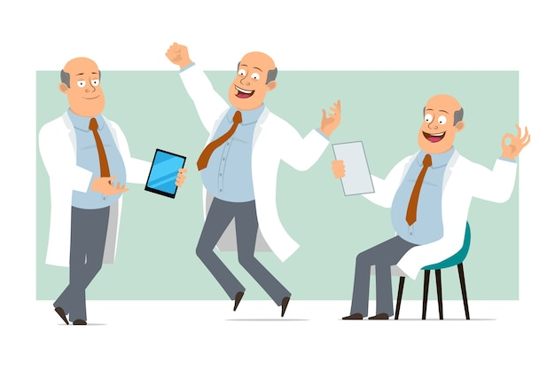 Cartoon flat funny fat bald doctor man character in white uniform with tie. boy holding smart tablet and reading document. ready for animation. isolated on green background. set.