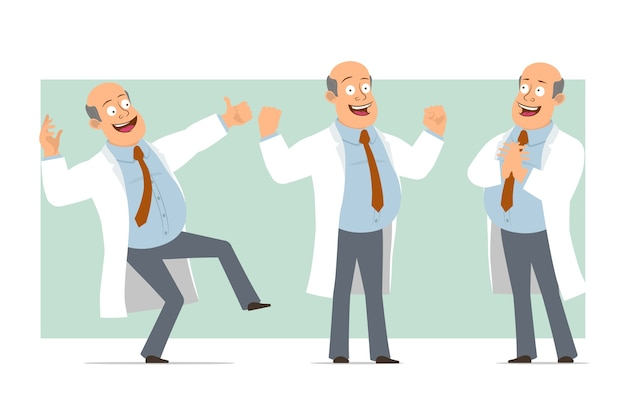 Cartoon flat funny fat bald doctor man character in white uniform with tie. boy showing muscles and thumbs up gesture. ready for animation. isolated on green background. set.