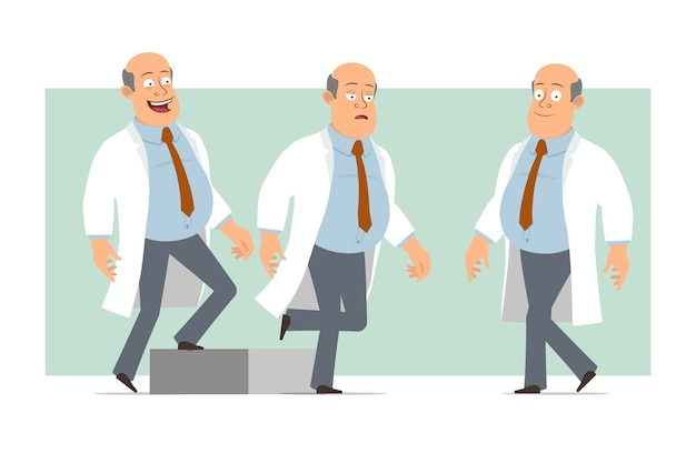 Cartoon flat funny fat bald doctor man character in white uniform with tie. successful tired boy walking up to his goal. ready for animation. isolated on green background. set.