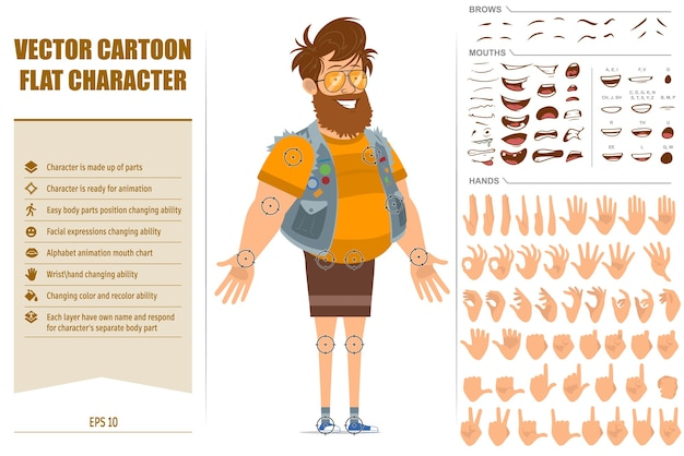 Jerkin와 선글라스에 만화 평면 재미 뚱뚱한 hipster 남자 캐릭터. 애니메이션 준비. 얼굴 표정, 눈, 눈썹, 입, 손을 쉽게 편집 할 수 있습니다. 흰색 배경에 고립.