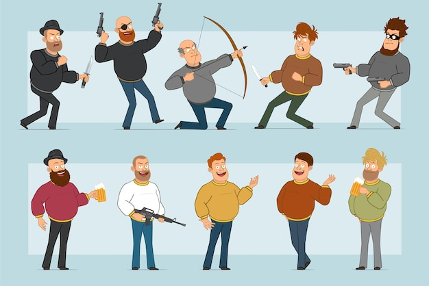 Cartoon flat funny fat smiling man character in jeans and sweater. boy drinking beer, shooting from pistol and bow