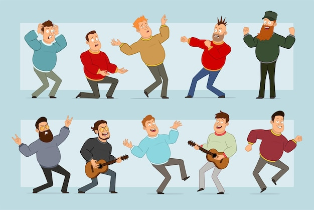 Cartoon flat funny fat smiling man character in jeans and sweater. boy fighting, falling, dancing and playing on guitar