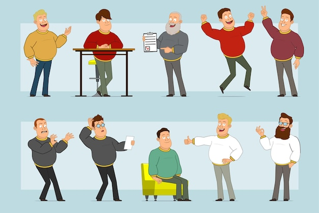 Cartoon flat funny fat smiling man character in jeans and sweater. boy resting, jumping, showing thumbs up, peace and okay sign