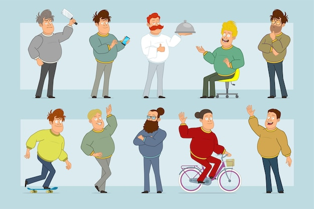 Cartoon flat funny fat smiling man character in jeans and sweater. boy thinking, posing, riding on skateboard and bicycle