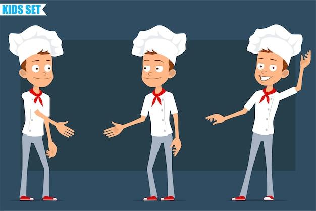 白い制服とパン屋の帽子の漫画フラット面白い小さなシェフ料理の男の子のキャラクター。握手してハロージェスチャーを見せている子供。