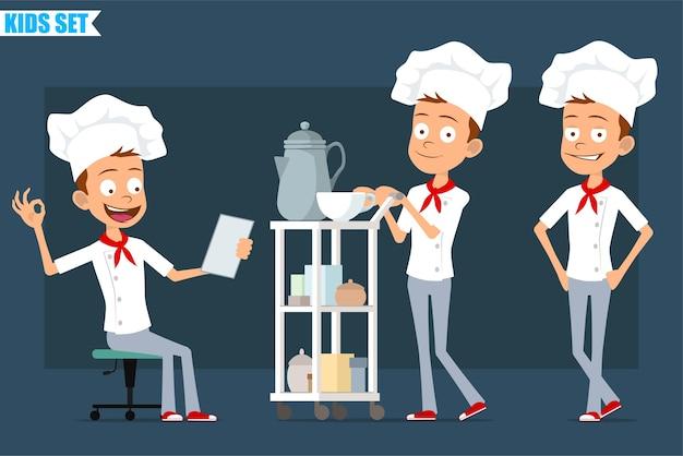 흰색 유니폼과 베이커 모자에 만화 평면 재미 작은 요리사 요리 소년 캐릭터. 확인 표시를 표시하고 커피 호텔 테이블과 함께 걷는 아이.