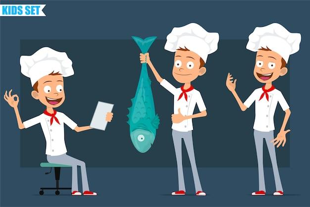 Мультяшный плоский забавный маленький повар повар мальчик персонаж в белой форме и шляпе пекаря. малыш показывает нормально жест и держит большую рыбу.