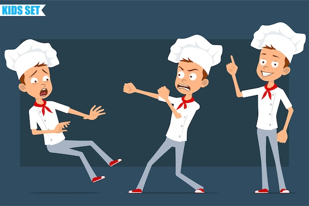 Cartoon flat funny little chef cook boy character in white uniform and baker hat. kid showing attention sign, fighting and falling down.
