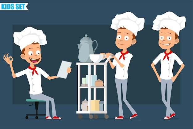 Cartoon flat funny little chef cook boy character in white uniform and baker hat. kid showing ok sign and walking with coffee hotel table.