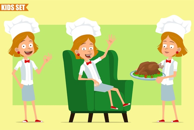 Мультяшный плоский смешной маленький повар повар девушка персонаж в белой форме и шляпе пекаря. малыш несет жареную курицу и показывает хорошо знаком.