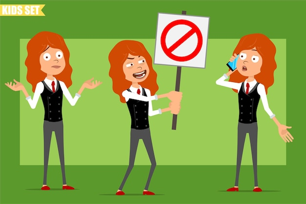 Cartoon flat funny little redhead girl character in business suit with red tie. kid talking on phone and holding no entry stop sign. ready for animation. isolated on green background. set.