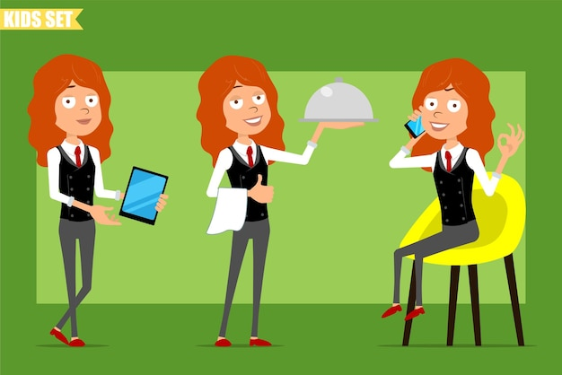 Cartoon flat funny little redhead girl character in business suit with red tie. kid talking on phone, holding tablet and metal food tray. ready for animation. isolated on green background. set.