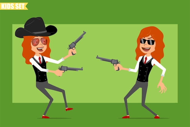 빨간 넥타이와 비즈니스 정장에 평면 재미있는 작은 빨간 머리 소녀 캐릭터 만화. 오래 된 레트로 리볼버에서 촬영 카우보이 아이. 애니메이션 준비. 녹색 배경에 고립. 세트.
