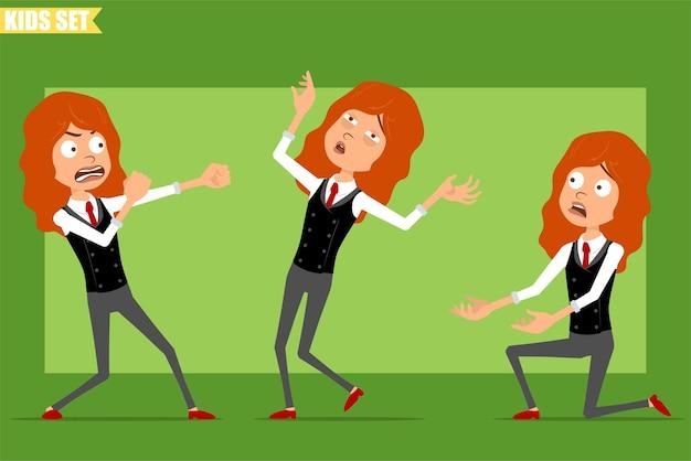 빨간 넥타이와 비즈니스 정장에 평면 재미있는 작은 빨간 머리 소녀 캐릭터 만화. 싸우고, 뒤로 떨어지고 무릎에 서있는 아이. 애니메이션 준비. 녹색 배경에 고립. 세트.