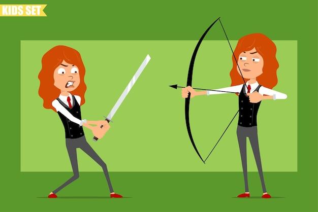 빨간 넥타이와 비즈니스 정장에 평면 재미있는 작은 빨간 머리 소녀 캐릭터 만화. 아시아 칼을 들고 화살로 활에서 촬영하는 아이. 애니메이션 준비. 녹색 배경에 고립. 세트.