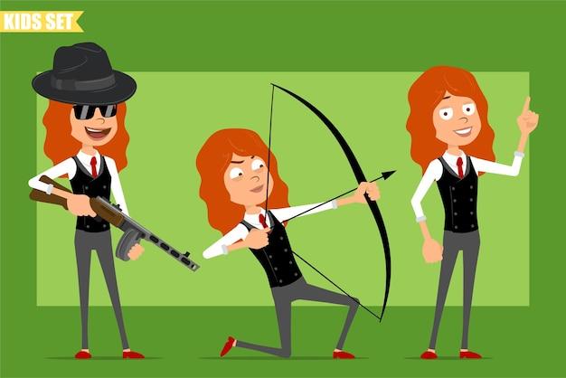 빨간 넥타이와 비즈니스 정장에 평면 재미있는 작은 빨간 머리 소녀 캐릭터 만화. 자동 소총에서 촬영하는 아이와 화살로 활. 애니메이션 준비. 녹색 배경에 고립. 세트.
