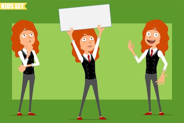 Мультяшный плоский забавный маленький рыжий персонаж в деловом костюме с красным галстуком. ребенок думает, позирует и держит пустой знак для текста. готов к анимации. изолированные на зеленом фоне. набор.
