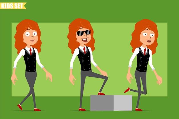 빨간 넥타이와 비즈니스 정장에 평면 재미있는 작은 빨간 머리 소녀 캐릭터 만화. 그녀의 목표에 도달하는 성공적인 피곤 아이. 애니메이션 준비. 녹색 배경에 고립. 세트.