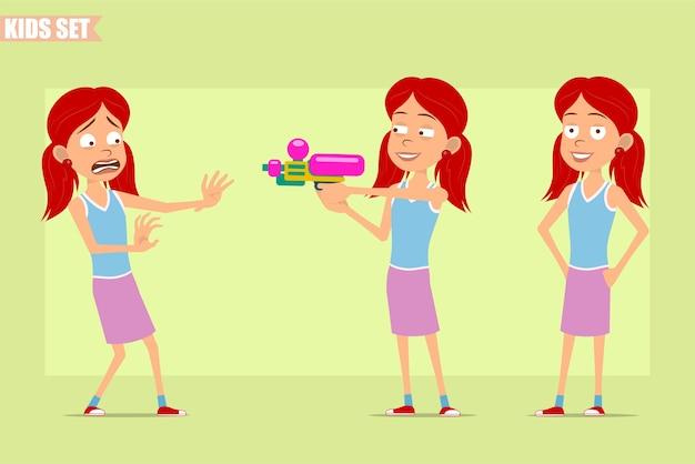 Мультяшный плоский забавный маленький рыжий персонаж в фиолетовой юбке. малыш злится, напуган и стреляет из водяного пистолета.