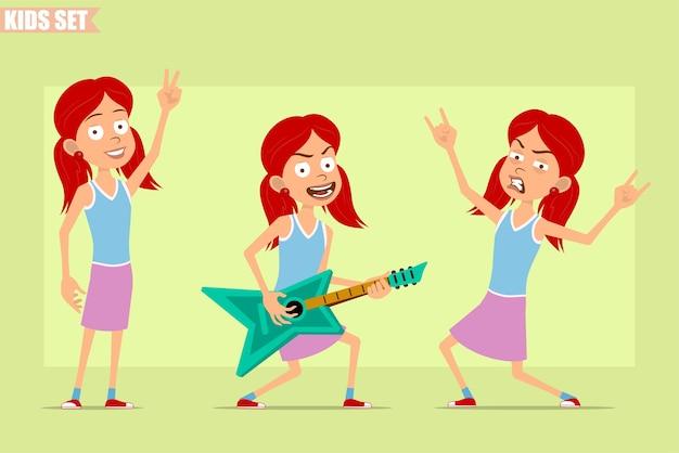 紫のスカートの漫画フラット面白い赤毛の女の子のキャラクター。ギターを弾き、ロックンロール、ピースサインを見せている子供。