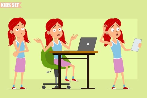 紫のスカートの漫画フラット面白い赤毛の女の子のキャラクター。子供の思考、ラップトップでの作業、紙幣の読み取り。