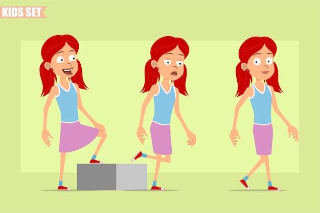紫のスカートの漫画フラット面白い赤毛の女の子のキャラクター。彼女の目標に向かって歩いて成功した疲れた子供。