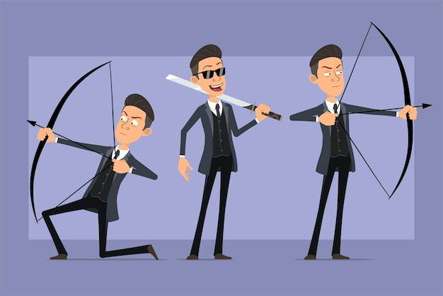 Cartoon flat funny mafia man character in black coat and sunglasses. boy holding asian sword and shooting from bow with arrow. ready for animation. isolated on violet background. set
