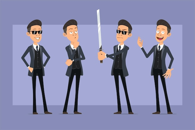 Cartoon flat funny mafia man character in black coat and sunglasses. boy thinking, posing and holding asian samurai sword. ready for animation. isolated on violet background. set.