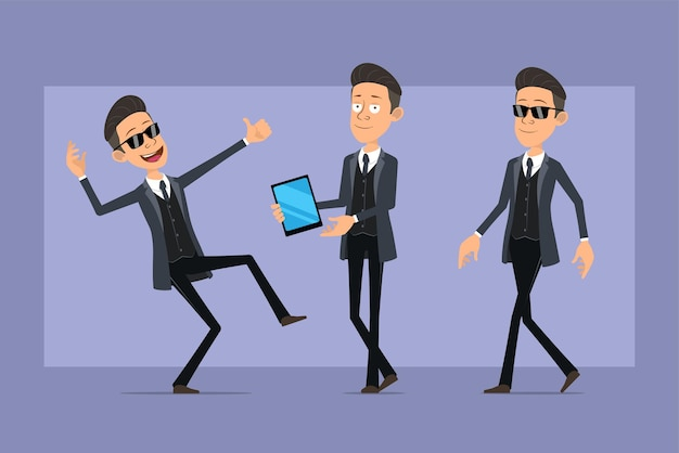 Cartoon flat funny mafia man character in black coat and sunglasses. boy walking, holding smart tablet and showing thumbs up sign. ready for animation. isolated on violet background. set.