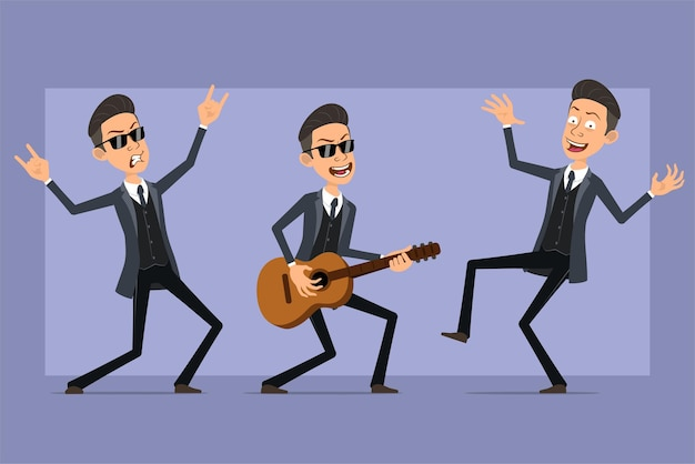 검은 코트와 선글라스에 만화 평면 재미 마피아 남자 캐릭터. 춤, 기타 연주 및 로큰롤 기호를 보여주는 소년. 애니메이션 준비. 보라색 배경에 고립. 세트.
