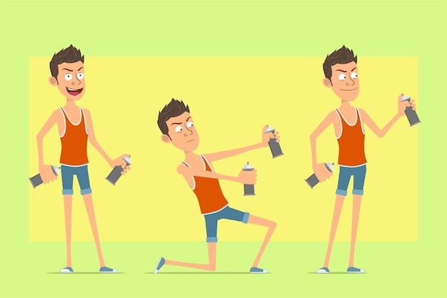 Cartoon flat funny man character in singlet and shorts. boy standing and working with spray paint can.