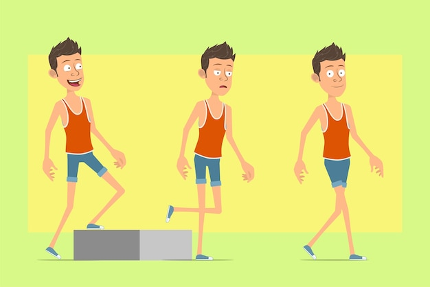 Cartoon flat funny man character in singlet and shorts. successful tired boy walking up to his goal.