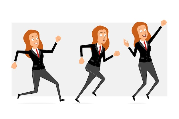 Cartoon flat funny redhead business woman character in black suit with red tie. girl jumping and running fast forward. ready for animation. isolated on gray background. set.