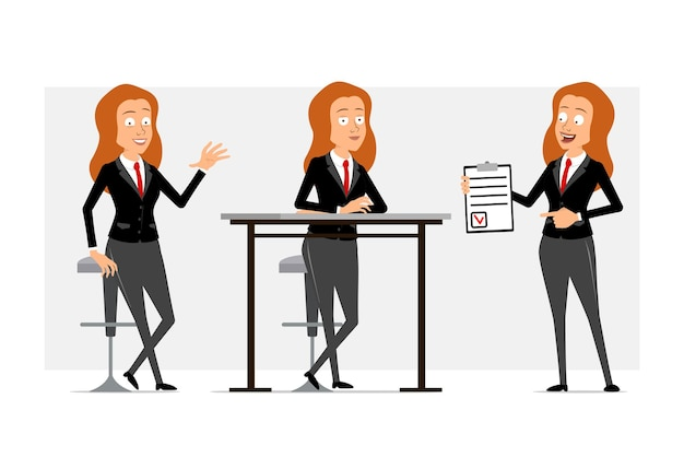Cartoon flat funny redhead business woman character in black suit with red tie. girl posing, resting and holding to do list with mark. ready for animation. isolated on gray background. set.