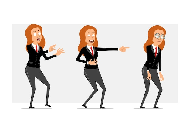 Cartoon flat funny redhead business woman character in black suit with red tie. girl scared, sad, tired and showing evil smile. ready for animation. isolated on gray background. set.