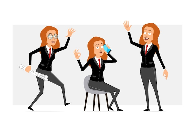 Мультфильм плоский смешной рыжий деловой женщина персонаж в черном костюме с красным галстуком. девушка гуляет с газетой и разговаривает по телефону. готов к анимации. изолированные на сером фоне. набор.