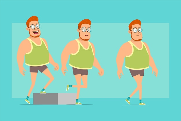 Cartoon flat funny redhead fat boy character in glasses, singlet and shorts. successful tired boy walking up to his goal.