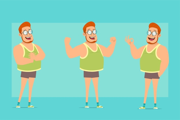 メガネ、一重項、ショートパンツの漫画フラット面白い赤毛太った男の子のキャラクター。少年は興奮し、筋肉と大丈夫なジェスチャーを見せました。