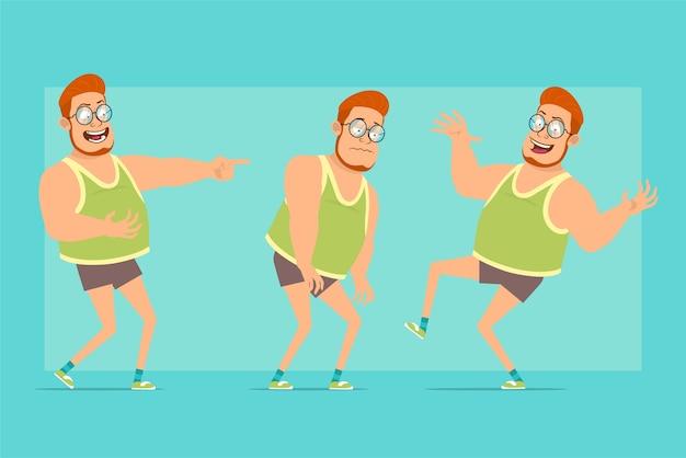 メガネ、一重項、ショートパンツの漫画フラット面白い赤毛太った男の子のキャラクター。少年は悲しい、疲れた、笑い、ジャンプし、踊ります。