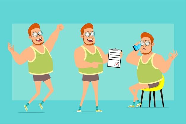 メガネ、一重項、ショートパンツの漫画フラット面白い赤毛太った男の子のキャラクター。電話で話している少年、リストと大丈夫サインをすることを示しています。