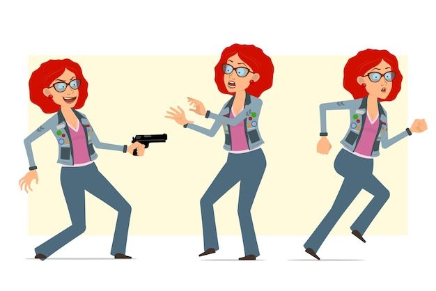 Cartoon flat funny redhead hippie woman character in glasses and jeans jacket. girl scared, running and shooting from pistol.