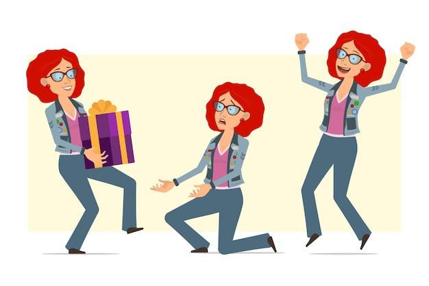 안경 및 청바지 재킷에 만화 평면 재미 빨간 머리 히피 여자 캐릭터. 현재 선물을 들고, 점프 하 고 무릎에 서있는 소녀.
