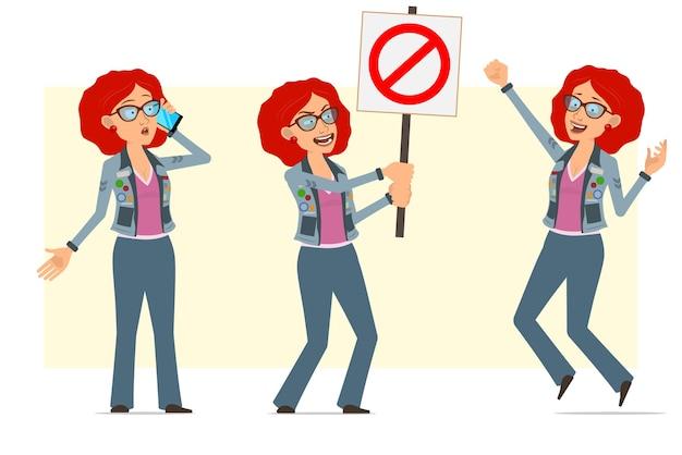 안경 및 청바지 재킷에 만화 평면 재미 빨간 머리 히피 여자 캐릭터. 전화 통화, 항목 흔적을 누른 점프 소녀.