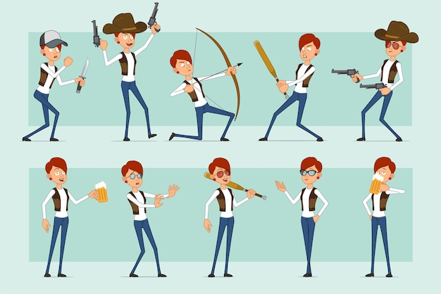 Cartoon flat funny redhead woman character in leather jacket and jeans. girl drinking beer, shooting from pistol and bow