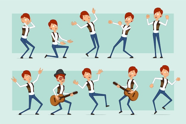 Cartoon flat funny redhead woman character in leather jacket and jeans. girl fighting, falling, dancing and playing on guitar