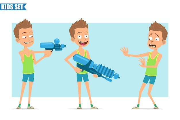 Cartoon flat funny sport boy character in green shirt and shorts. kid angry, scared, shooting from water pistol and big gun.