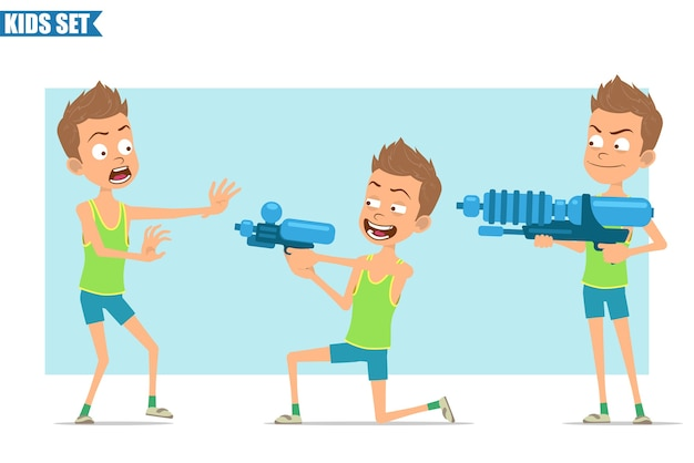 Cartoon flat funny sport boy character in green shirt and shorts. kid angry, scared and shooting from water pistol gun.