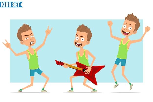 緑のシャツとショートパンツの漫画フラット面白いスポーツ少年キャラクター。ギターで遊んでいて、ロックンロールのサインを見せている子供。